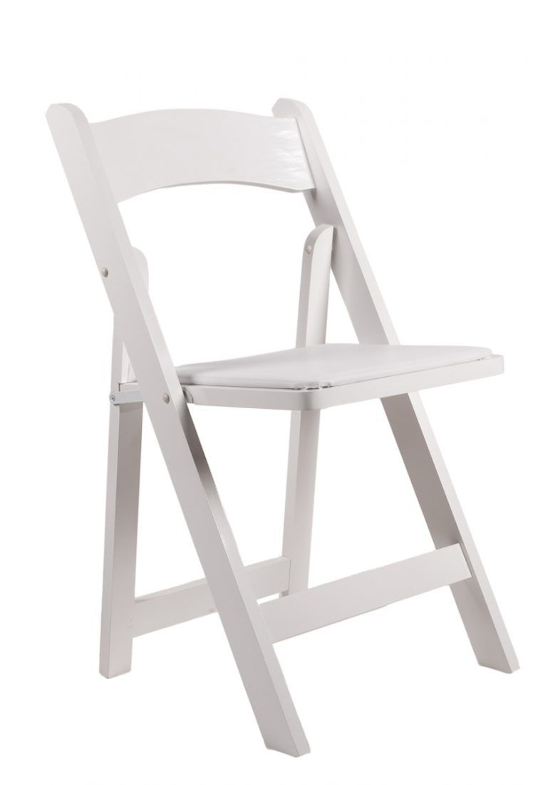 White Resin Folding Chair With White Vinyl Padded Seat Wood Folding Chair Folding Chair Chair