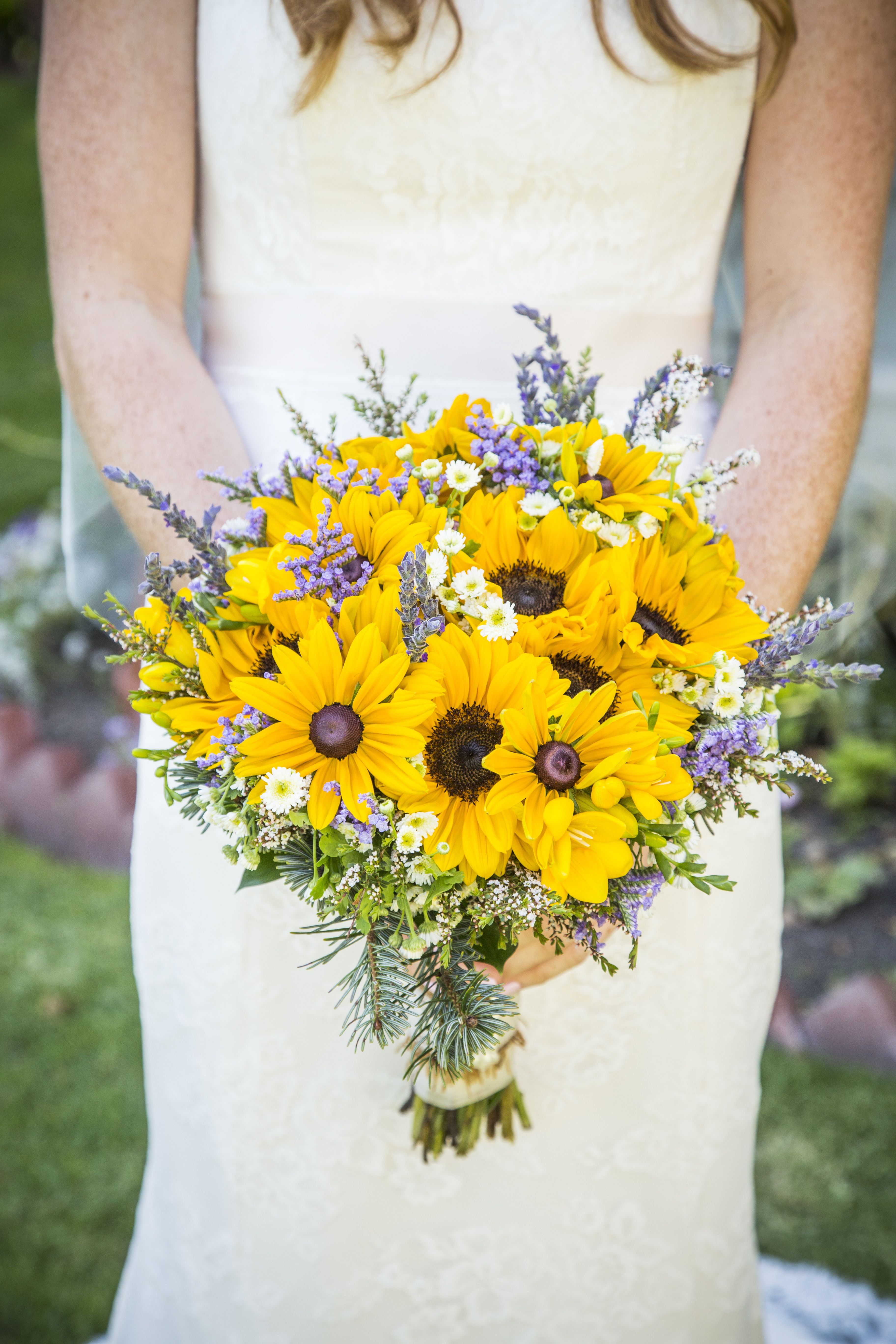Bouquet Of Yellow And Creme Wildflowers With Lilac Accents