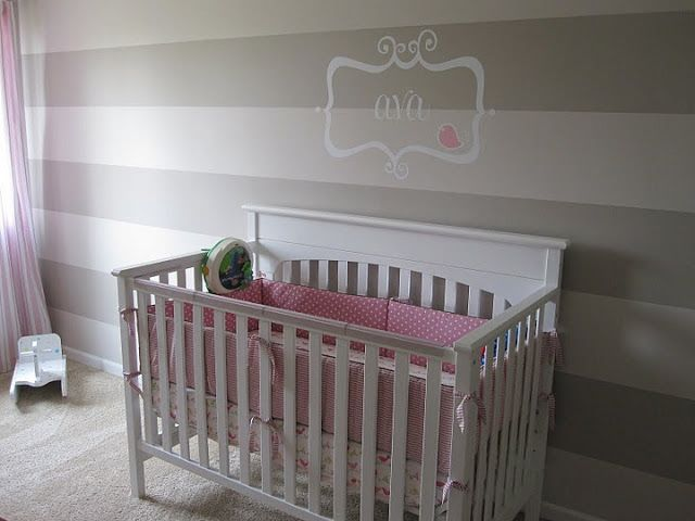Striped Wall Nursery With Images Striped Walls Nursery