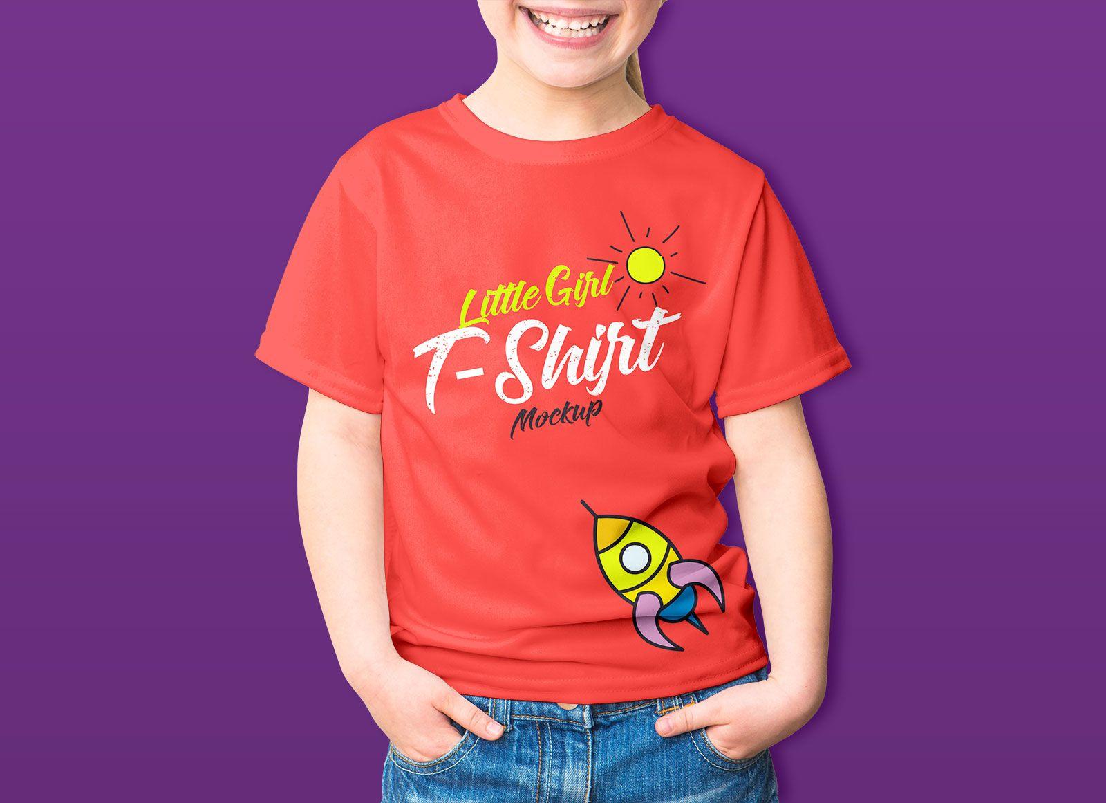 Free Young Kid T Shirt Mockup Psd
