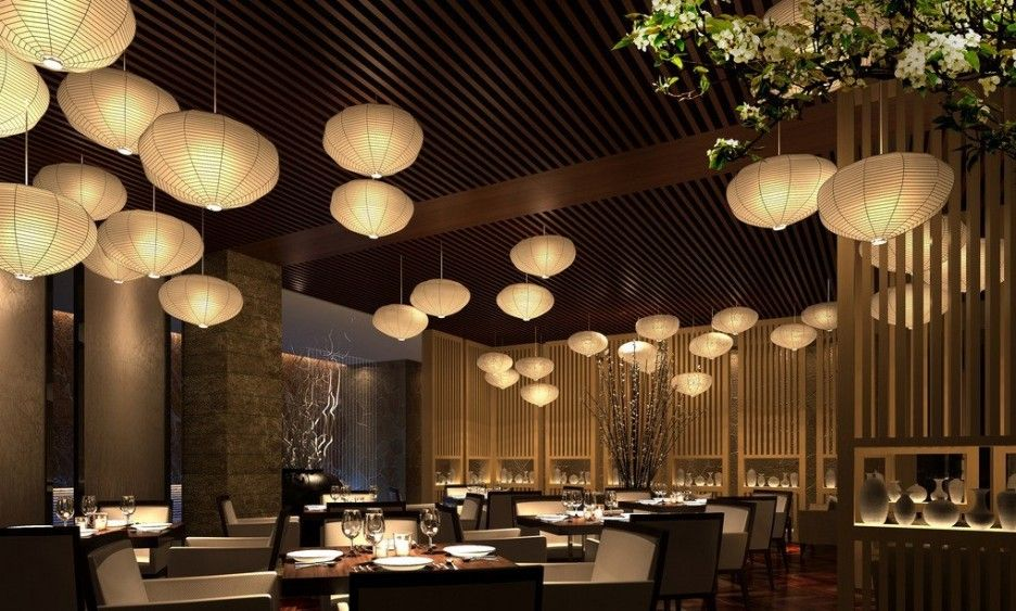 Elegant Asian Restaurant Interior Design With White Lampshade For Best  Lighting Idea In Green Idea Of Room Space