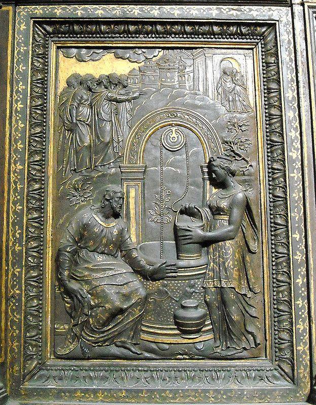 """Christ and Samaritan"" - The sacresty of Annunziata church in Naples - wooden and gilded sculpture (1577-1580) by Girolamo D'Auria, Salvatore Caccavello and Nunzio Ferraro   da Carlo Raso"