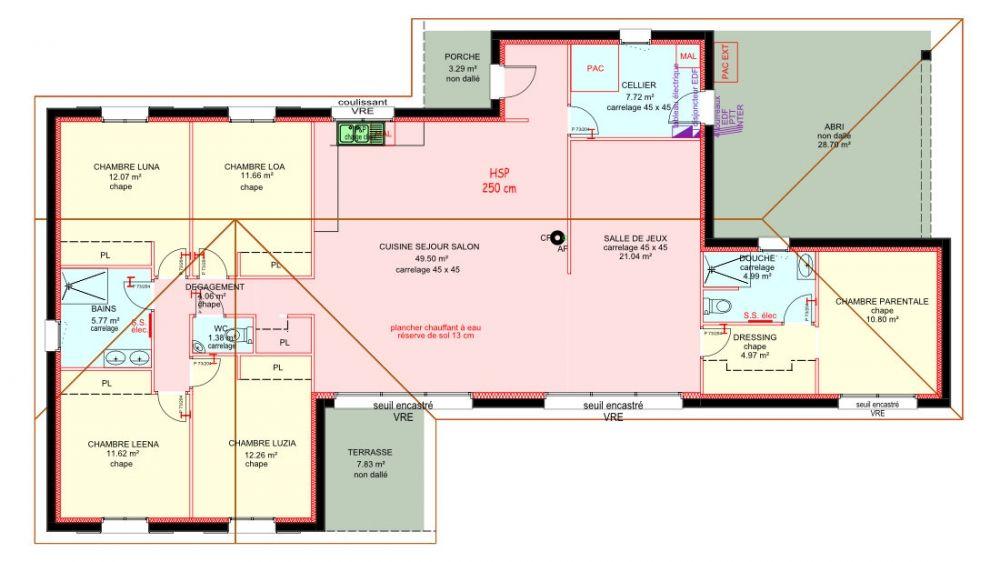 Maisons plain pied 4 chambres de 158 m² construite par Demeures - plan maison  plain pied
