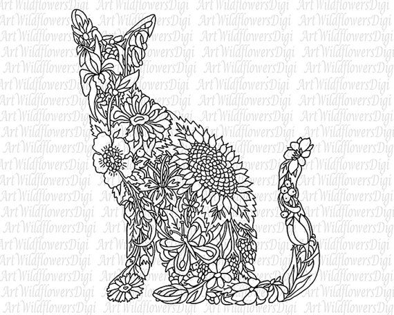cat coloring page digital stamp wildflower kitty cats adult color sheet