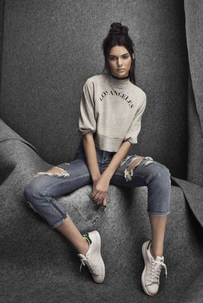 5db4d32f3f Sweater  kendall jenner ripped jeans sneakers denim jeans grey white  sneakers model black choker