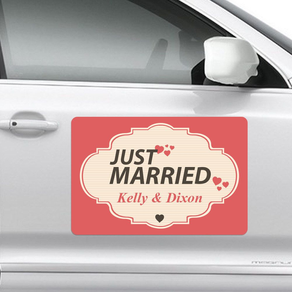 Wedding Car Decoration Just Married Magnet 18 X12 White