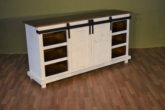 Rustic Style Solid Wood Barn Door White Sliding Door Tv Stand