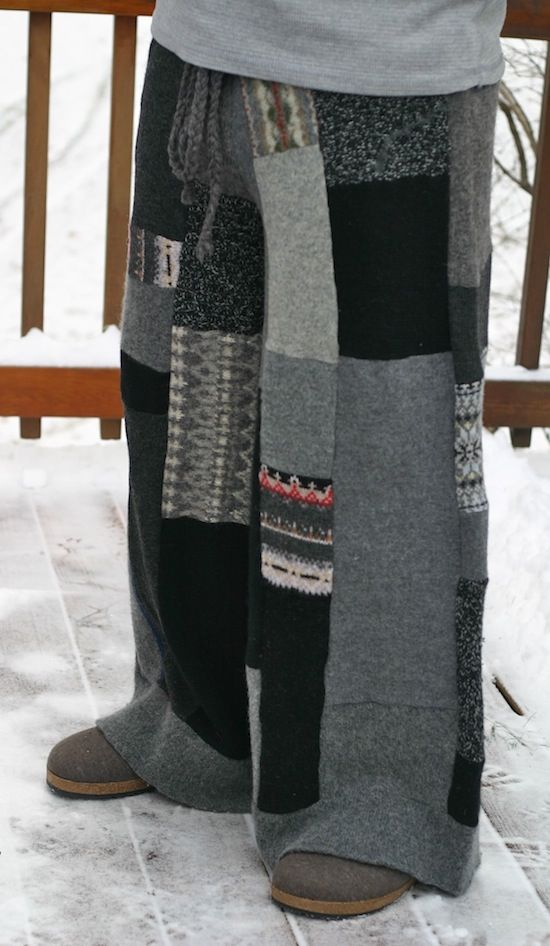 adult size upcycled patchwork pants made out of old sweaters. YUM - - make these to replace sweats. fashionable. and warm.