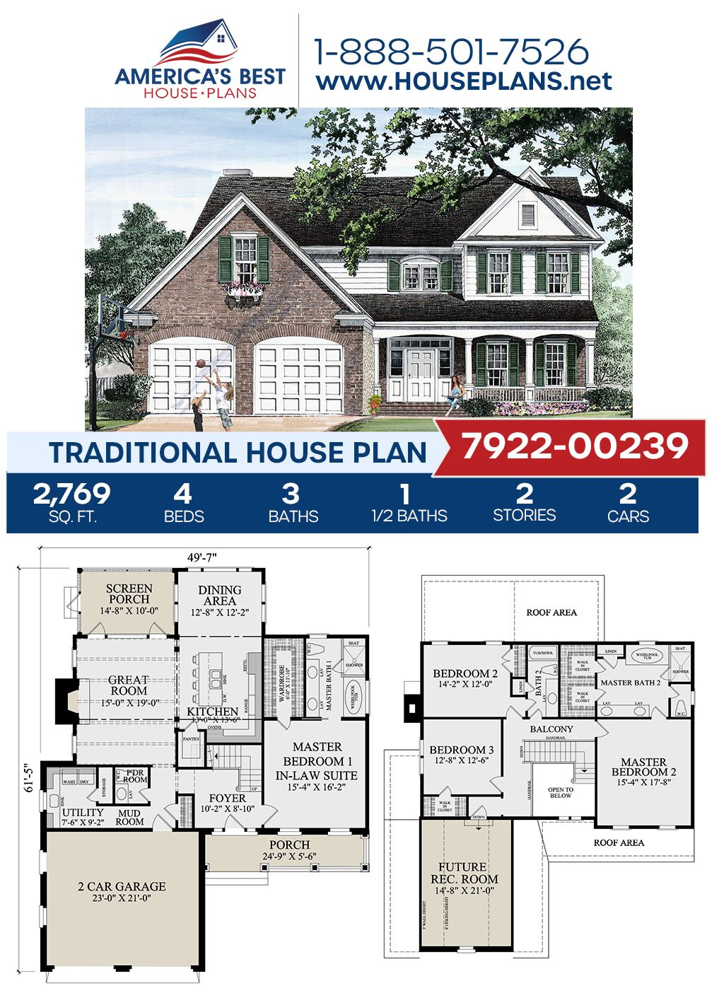 House Plan 7922 00239 Traditional Plan 2 769 Square Feet 4 Bedrooms 3 5 Bathrooms In 2021 House Plans Sims House Plans Traditional House Plans