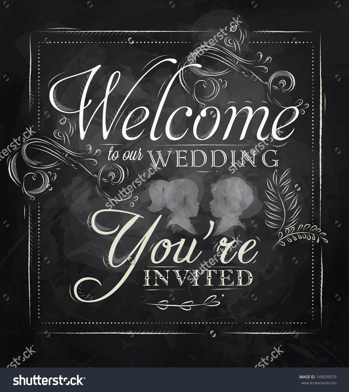 stock-vector-wedding-lettering-welcome-to-our-wedding-you-re-invited-stylized-drawing-with-chalk ...