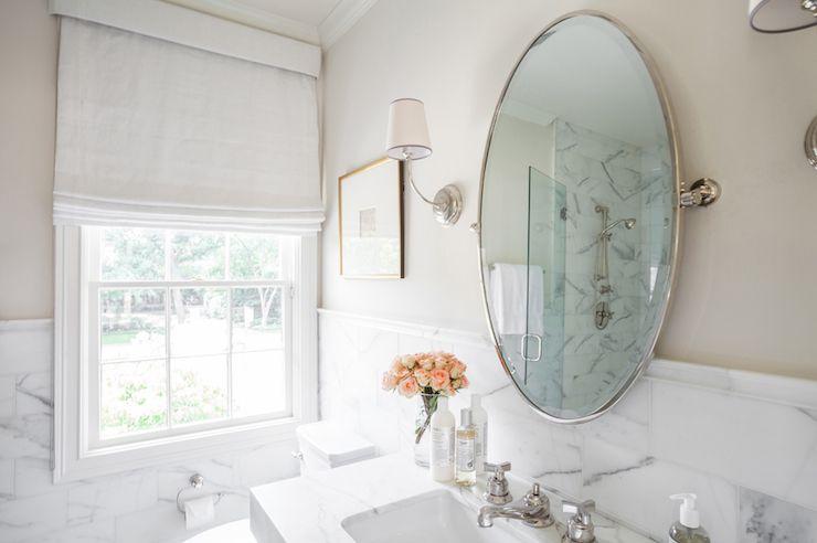 Elegant Bathroom Features Upper Walls Painted Tan And