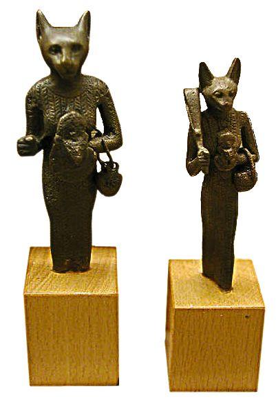Twee Figuren Van Bastet Egyptian Art Bastet