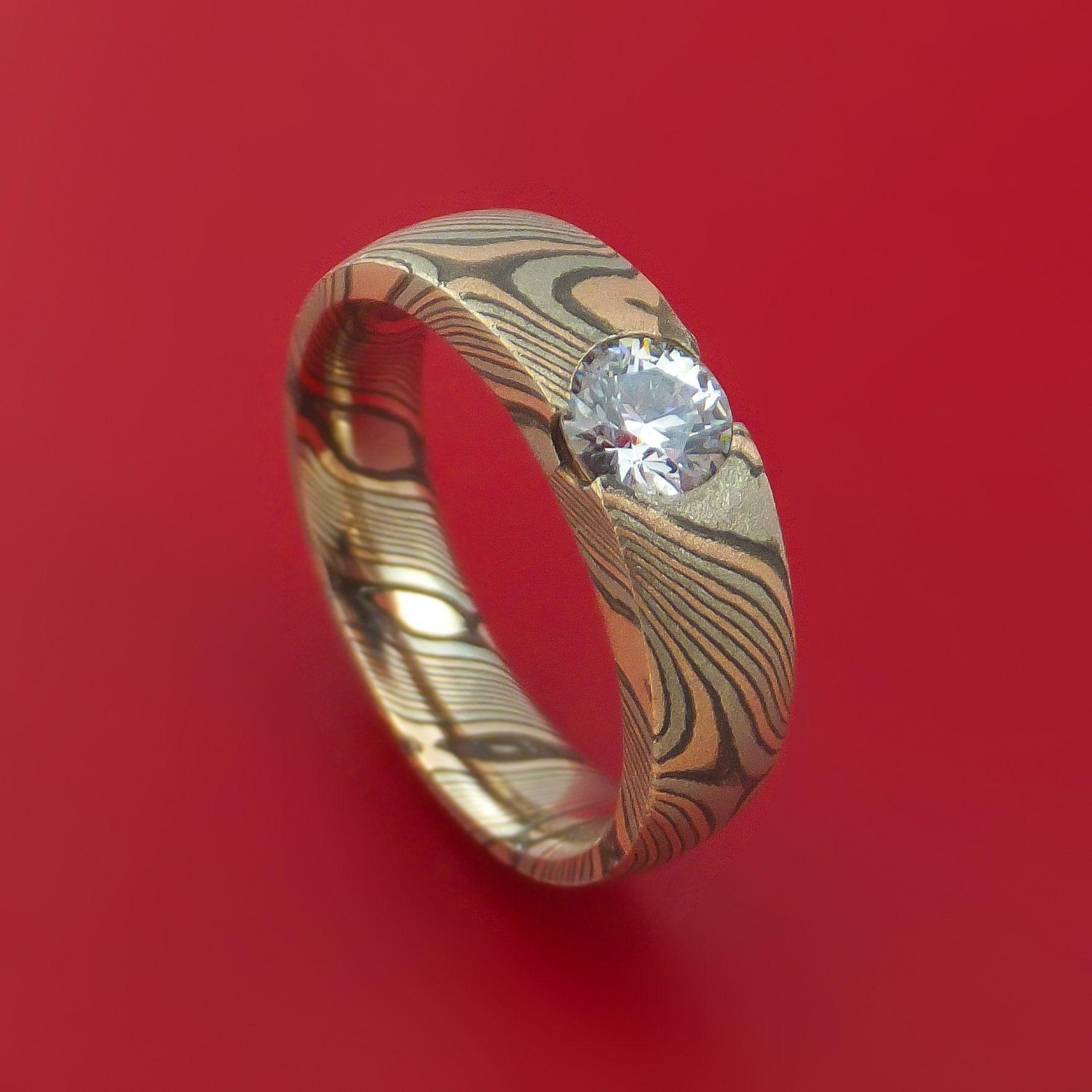 Mokume Gane Ring with Lannyte Custom Made Men's Wedding