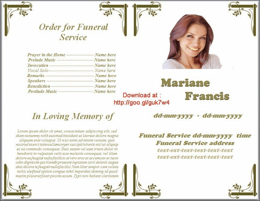Memorial Service Programs Template Microsoft Office Word In Many Language  Of English, French, Spanish  Funeral Pamphlet Templates