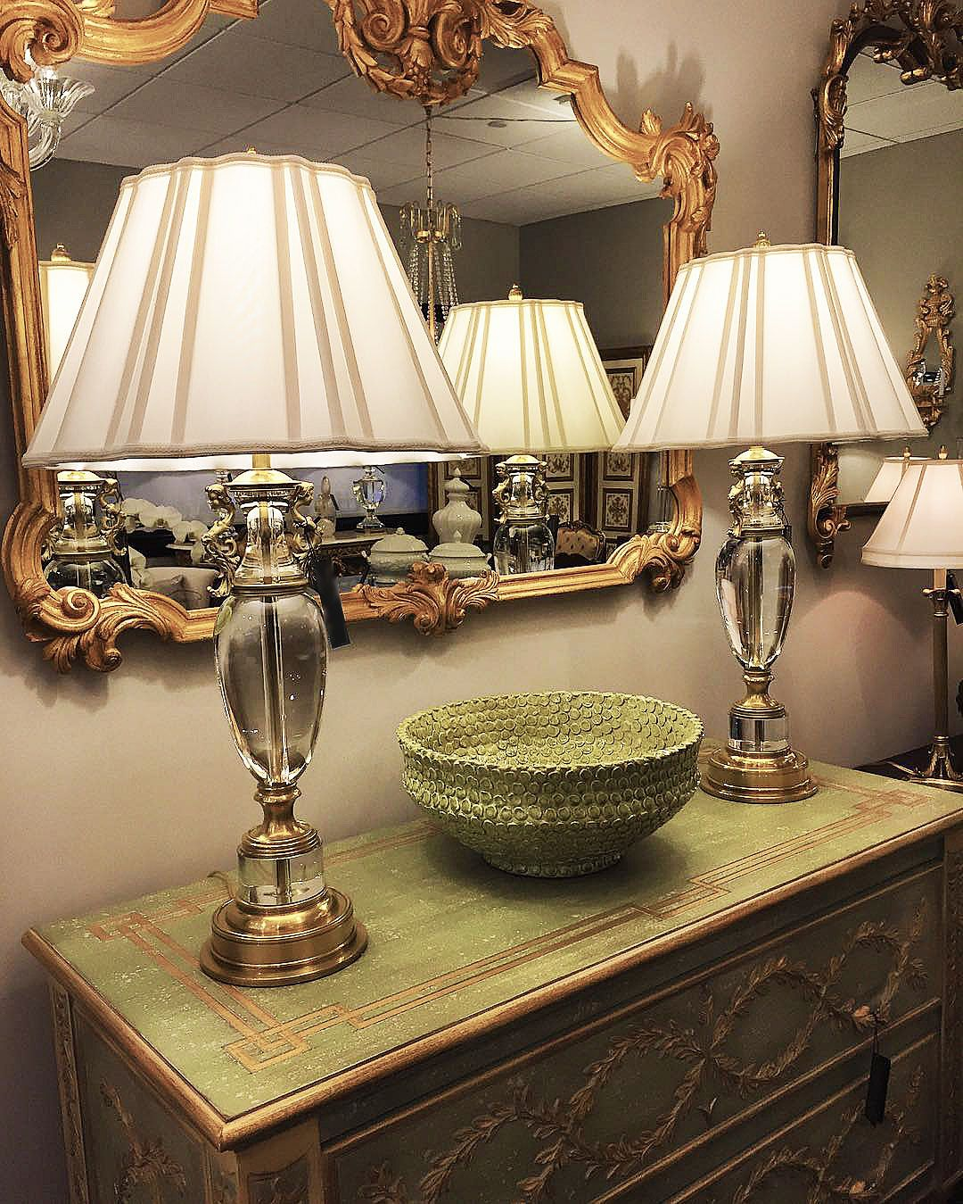 Showroom Setting Featuring Tuscan Style Mirror Pair Of Stunning Solid Crystal Lamps