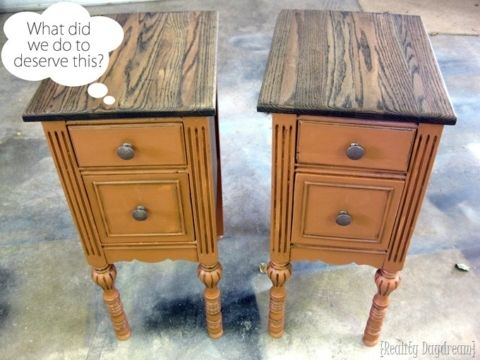 Take An Old Desk Apart To Make Two Identical Night Stands Recycled Furniture Refinishing Furniture Refurbished Furniture