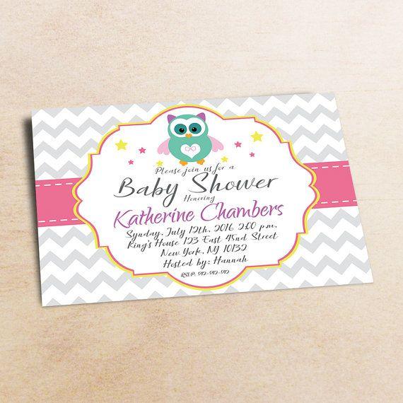 Owl Pink Baby Shower Invitation Girl girl baby от LittlePartyPaper