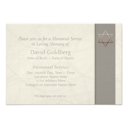 Simple jewish celebration of life invitation 3 religious funeral star of david funeral announcement stopboris