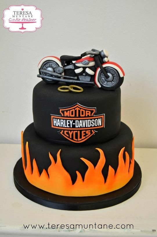 Awesome Harley Davidson Wedding Cake Cake By Teresa Muntane Motorcycle Funny Birthday Cards Online Elaedamsfinfo