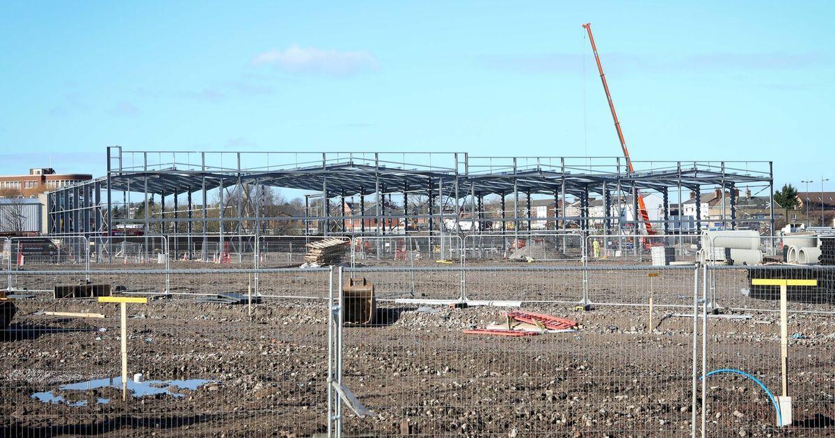 Steel frames going up at new Edge Lane retail park | Entrance, Parks ...