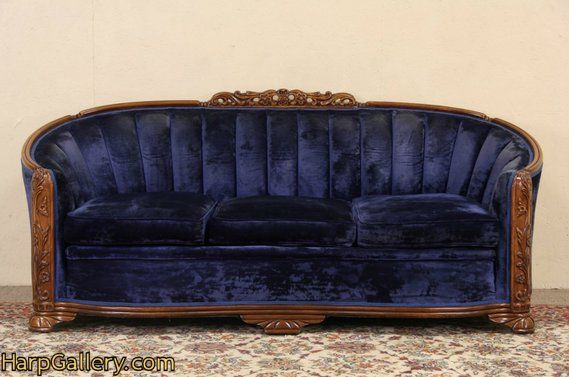 Sold Art Deco Blue Velvet 1930 S Vintage Sofa Harp Gallery Antique Furniture