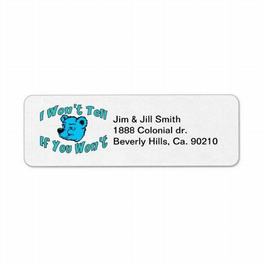 i won t tell secret bear label funny return address labels