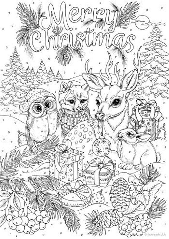 merry christmas - printable adult coloring page from