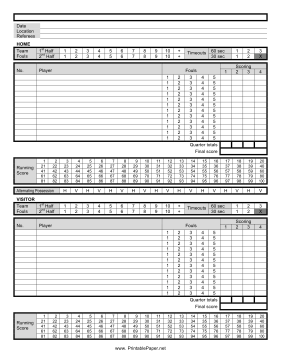 This Basketball Score Sheet Helps You Keep Track Of Both Teams And