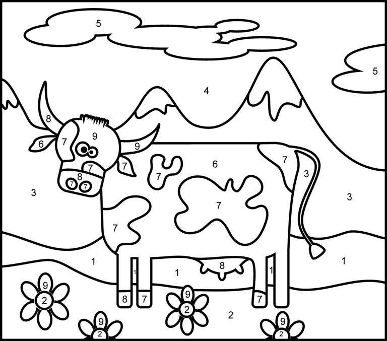Cow Printable Color By Number Page Animal Coloring Pages Coloring Pages Printable Coloring Pages