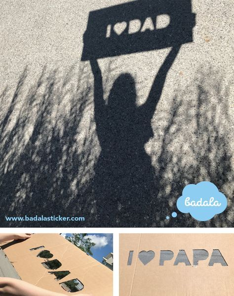 Shadow games for greateful people: Cut out the desired message for a human heart from the cardboard box and look for a sunny spot. vatertagsgeschenk, bastelspaß, father's day, present, cardboard, Karton, DIY, sun, shadow, I love Dad, Geschenk #father