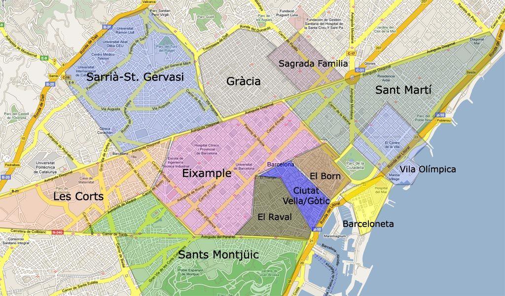 Barcelona Neighborhood Map Map of Barcelona's neighborhoods | Barcelona Trip | Barcelona  Barcelona Neighborhood Map