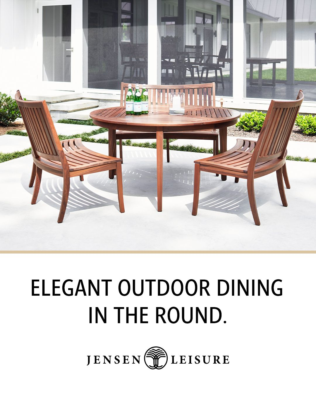 Round Outdoor Ipe Wood Dining For Six From Jensen Leisure Round Dining Table Dining Table Outdoor Dining