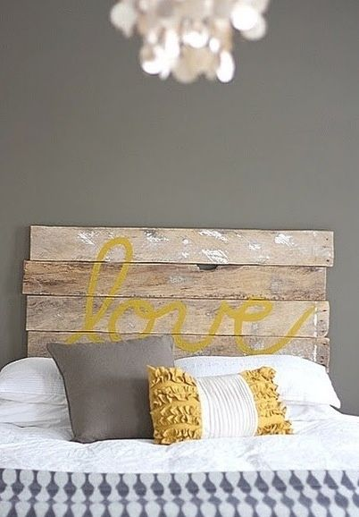 """Headboard made from 2 x 4's with """"love"""" painted on it.~guest room by anastasia"""