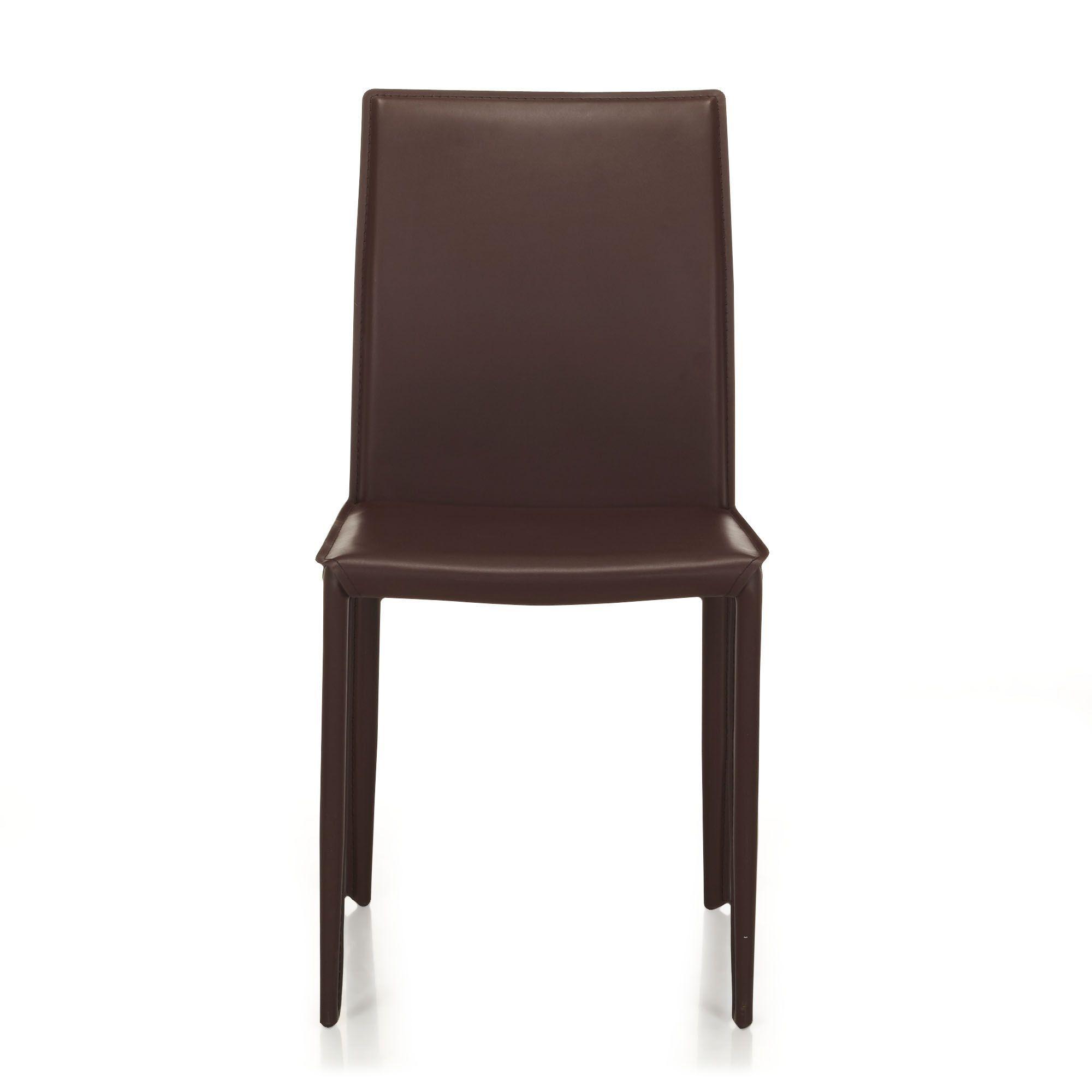 chaise en crote de cuir marron marron andrew chaises tables et chaises - Chaise A Manger