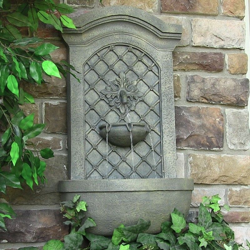 Rosetta leaf solar wall mounted water fountain natures for Wall water fountain