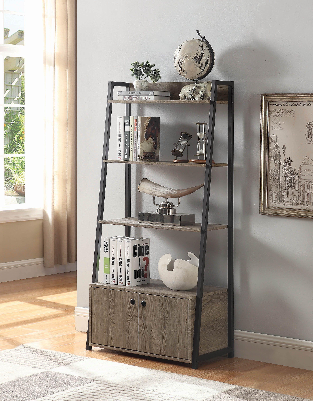 Prescott 2 Door Bookcase Driftwood And Bronze Coaster Fine Furniture