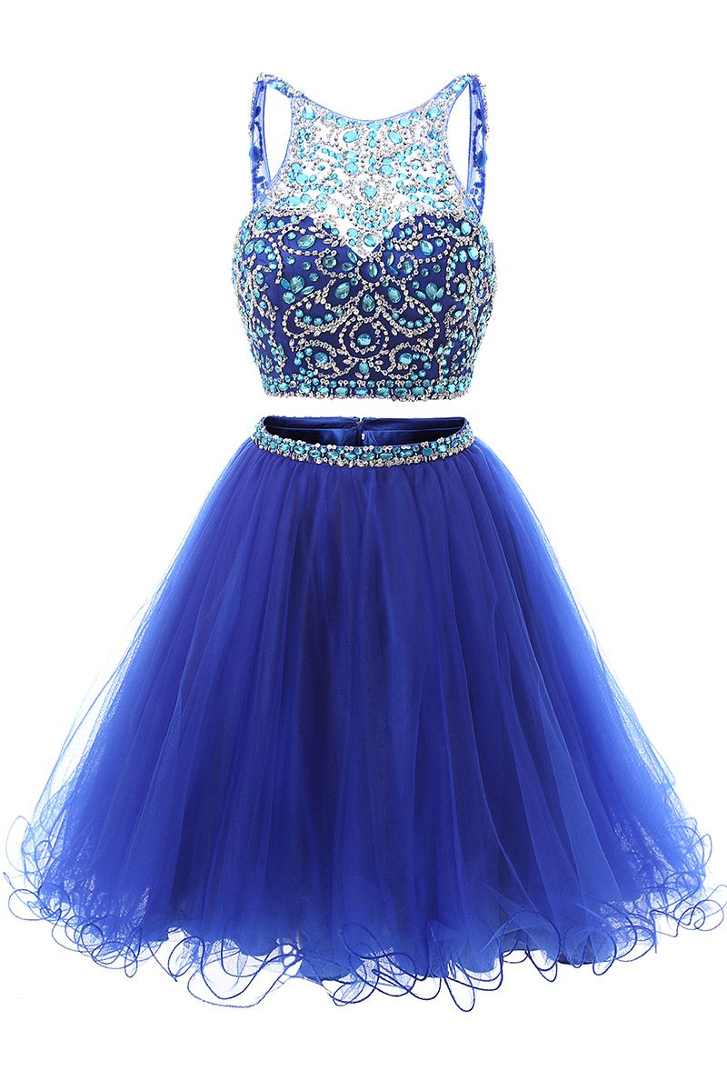 Two Pieces Beaded Knee Length Party/ Formal/ Special Occasion Dress ...