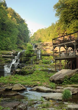 A view of the waterfall next to The Ledges Hotel in Hawley