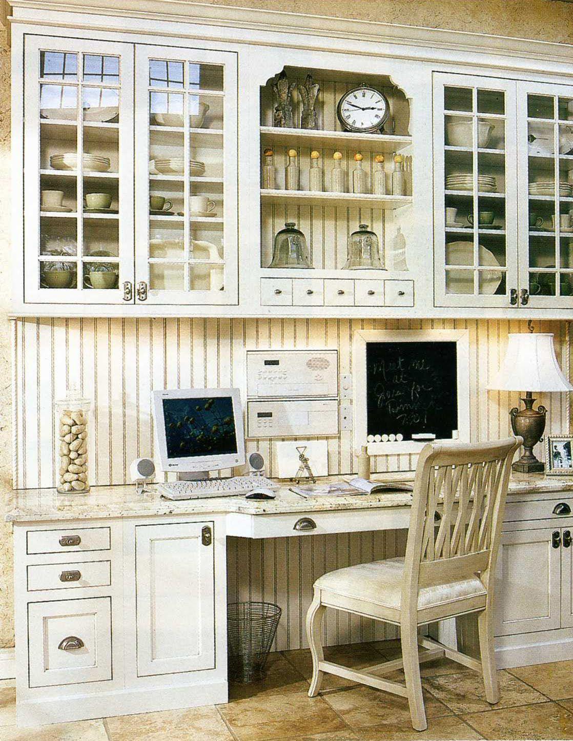 kitchen cabinet desk area