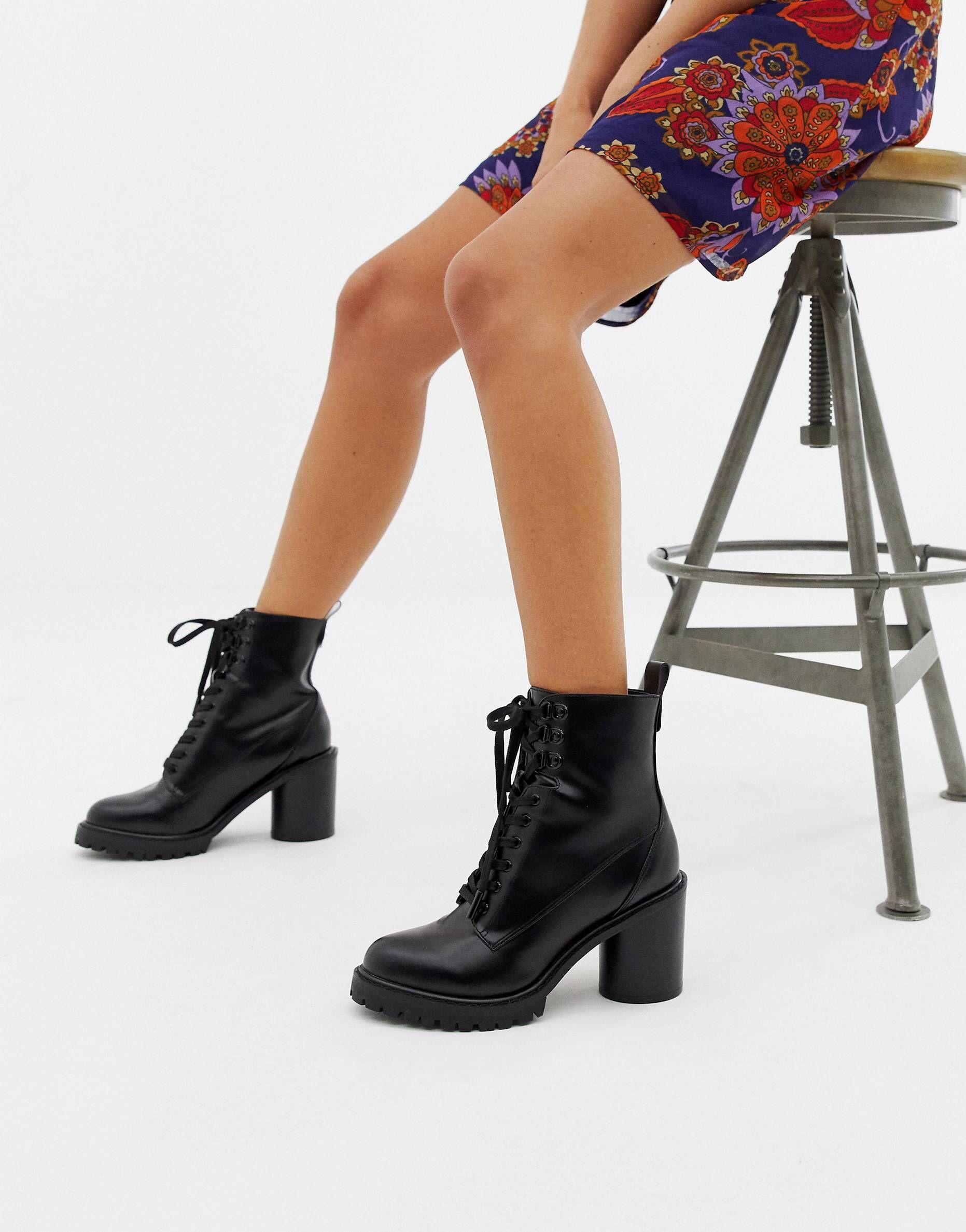 cf3e7de5c89 Faith Barc heeled hiker boots in black | f o o t w e a r | Boots ...