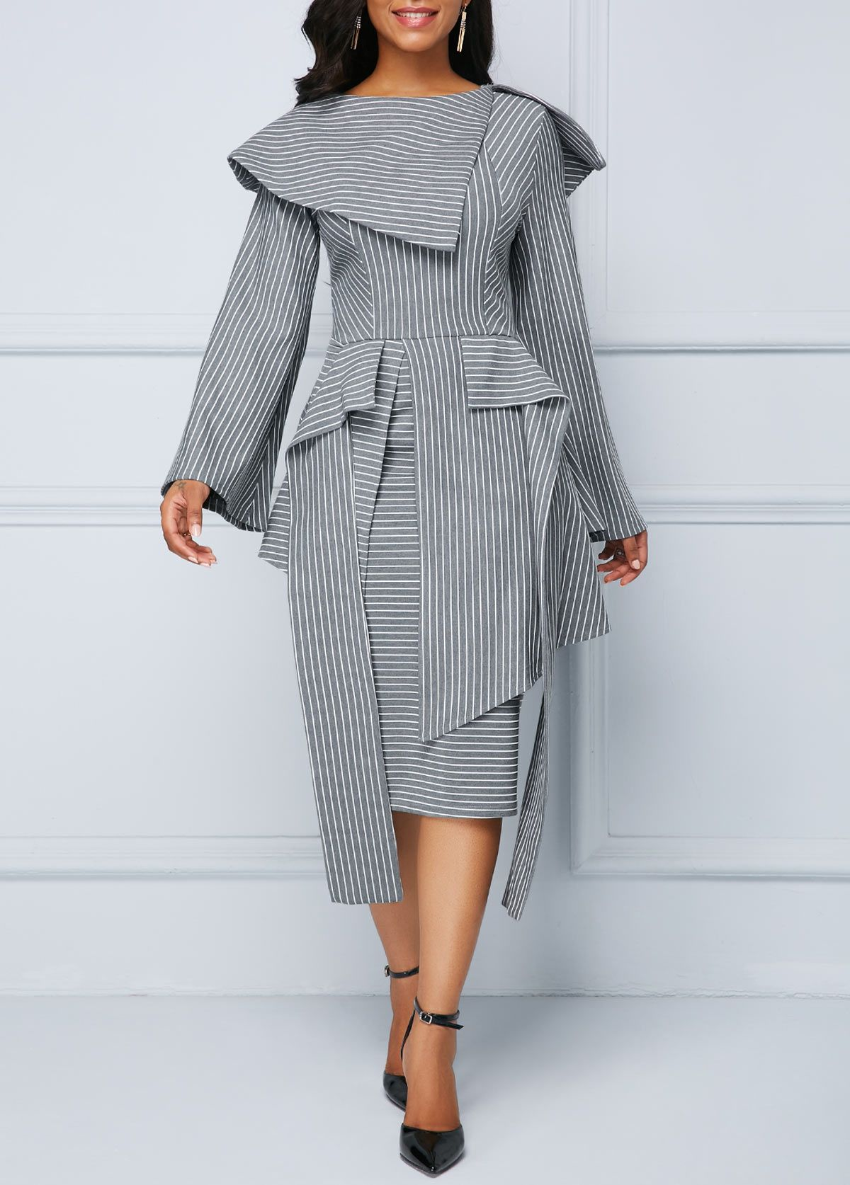 striped cape shoulder long sleeve midi dress | striped midi
