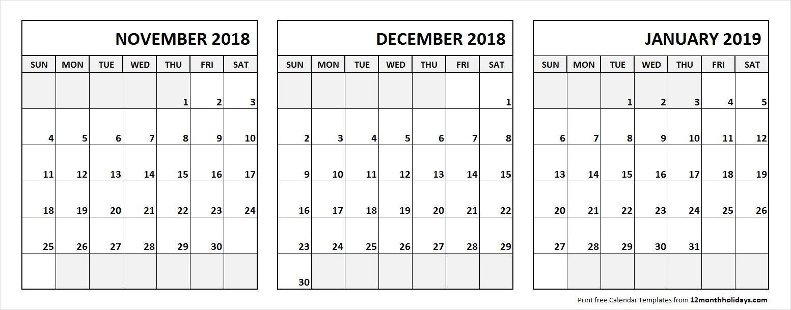 Nov Dec 2018 Jan 2019 Calendar Printable With Notes 3 Month