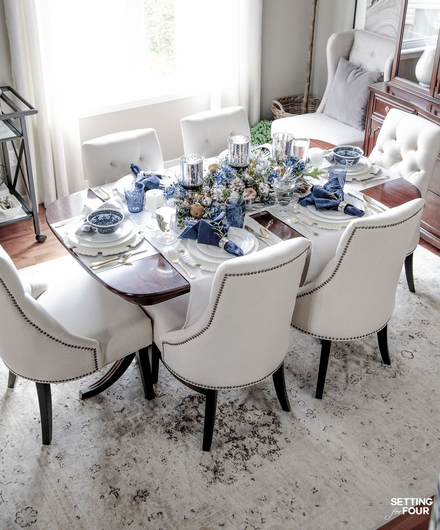 Elegant Fall Table Settings With A Blue And White Palette Dining