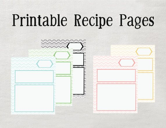 INSTANT Printable Recipe Pages Microsoft Word Editable version NEW - free recipe card templates for microsoft word