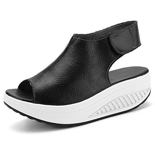 classic fit 33360 2b7c0 Comprar Ofertas de Bdawin Shape Ups Mujer Cuero Confort Peep Toe Cuña  Sandalias Plataforma Tacón Zapatos Para Caminar,908M Black EU40 barato.
