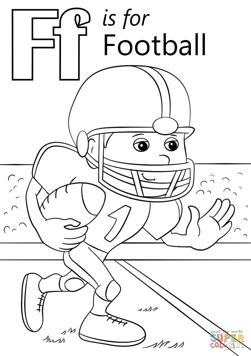 Letter F is for Football Super Coloring Football