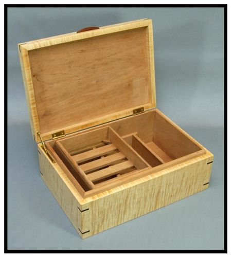 Curly Maple And Sapele Humidor 3 Majestic Eagle Woodworks