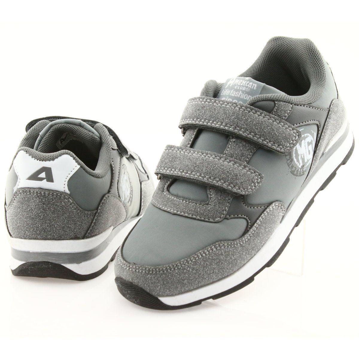 American Club Rzepy Wkladka Skorzana Bs01 Biale Szare Comfortable Shoes Kid Shoes Leather