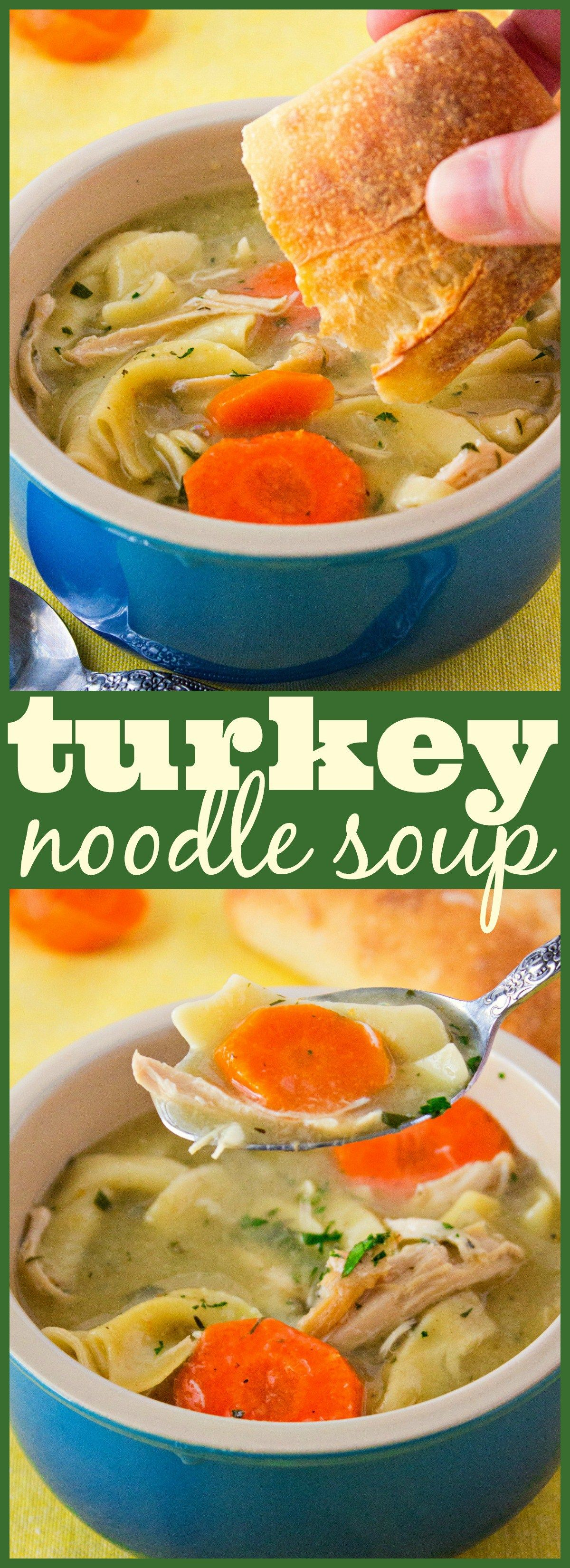 A super easy turkey noodle soup to warm you up on cold