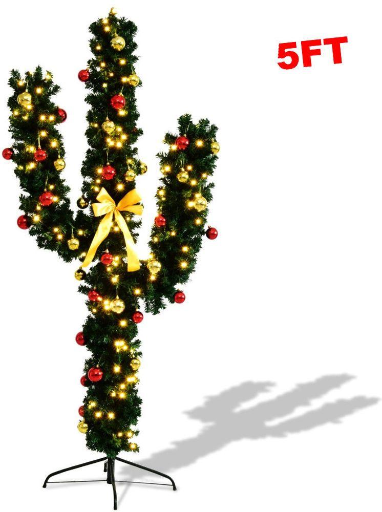 unusual christmas tree fake cactus 5ft decorated prelit lights ball ornaments christmastree christmas - Cactus Christmas Decorations